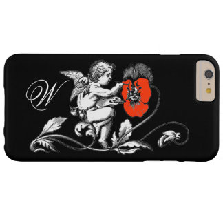 ANGEL PAINTING A RED FLOWER,MONOGRAM ,Black Barely There iPhone 6 Plus Case