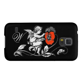 ANGEL PAINTING A RED FLOWER,MONOGRAM ,Black Case For Galaxy S5