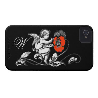 ANGEL PAINTING A RED FLOWER,MONOGRAM ,Black iPhone 4 Cover