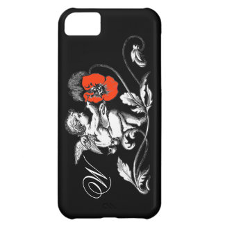ANGEL PAINTING A RED FLOWER,MONOGRAM ,Black iPhone 5C Cover