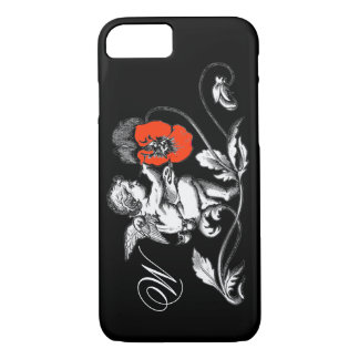 ANGEL PAINTING A RED FLOWER,MONOGRAM ,Black iPhone 7 Case