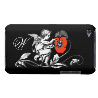 ANGEL PAINTING A RED FLOWER,MONOGRAM ,Black iPod Touch Case-Mate Case