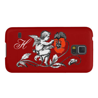 ANGEL PAINTING A RED FLOWER,MONOGRAM ,Red Case For Galaxy S5