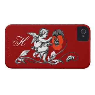 ANGEL PAINTING A RED FLOWER,MONOGRAM ,Red iPhone 4 Cover