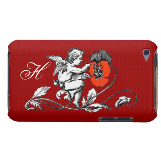 ANGEL PAINTING A RED FLOWER,MONOGRAM ,Red iPod Case-Mate Case