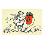 ANGEL PAINTING A RED FLOWER MONOGRAM STATIONERY