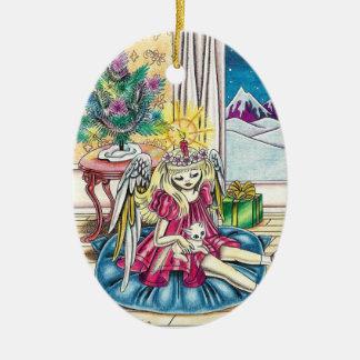 "Angel ""Pamela"" Double-Sided Oval Ceramic Christmas Ornament"