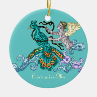 Angel & Peacock Vintage Illustration Double-Sided Ceramic Round Christmas Ornament