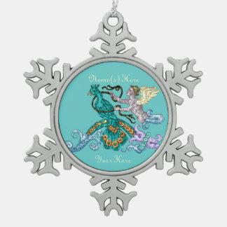 Angel & Peacock Vintage Illustration Snowflake Pewter Christmas Ornament