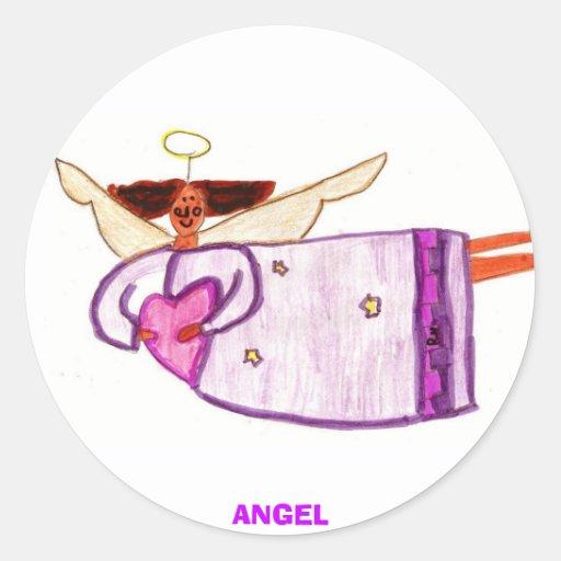 ángel pegatina redonda