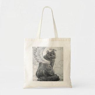Ángel peludo (felinos divinos) bolsa tela barata