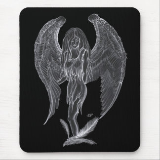 Angel pencil drawing Black and white Design Mouse Pad