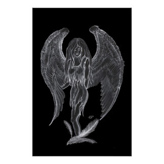 Angel pencil drawing Black and white Design Poster