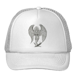 Angel pencil drawing Black and white Design Trucker Hat