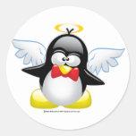 Angel Penguin Classic Round Sticker