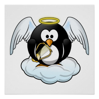 Angel Penguin on A Cloud Print