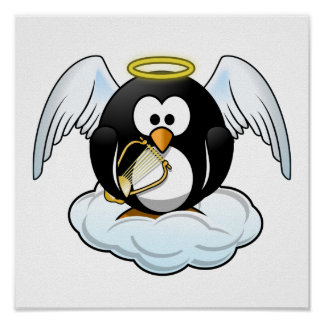 Angel Penguin on A Cloud Posters