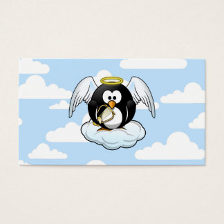 Angel Penguin on a Cloud With Sky Background Business Card