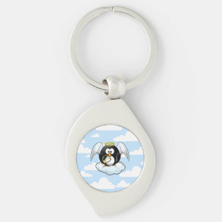 Angel Penguin on a Cloud With Sky Background Keychain
