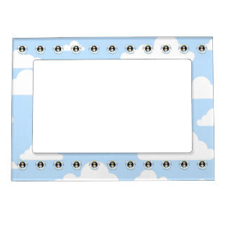 Angel Penguin on a Cloud With Sky Background Magnetic Photo Frame