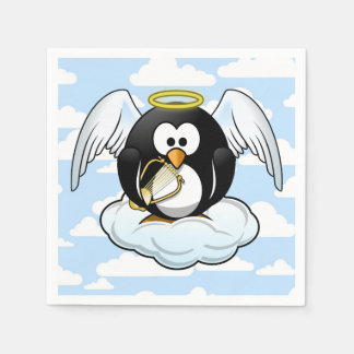 Angel Penguin on a Cloud With Sky Background Disposable Napkins