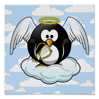 Angel Penguin on a Cloud With Sky Background Poster