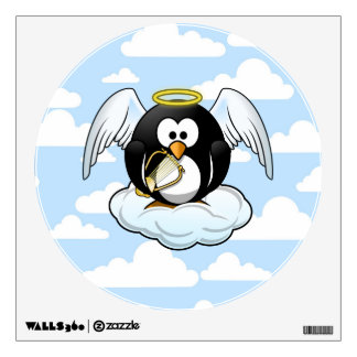 Angel Penguin on a Cloud With Sky Background Wall Sticker