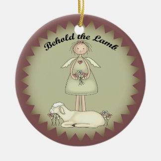 Ángel personalizado del navidad y ornamento del adorno navideño redondo de cerámica