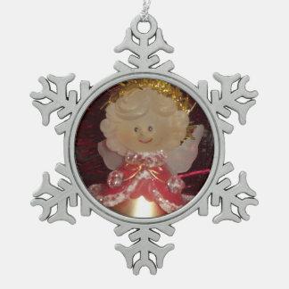 Angel Pewter Snowflake Ornament
