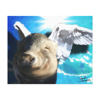 Angel Pig 20x16 Stretched Canvas Stretched Canvas Print