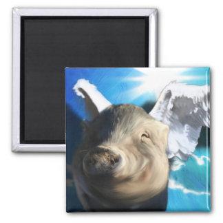 Angel Pig 2 Inch Square Magnet