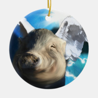 Angel Pig Double-Sided Ceramic Round Christmas Ornament