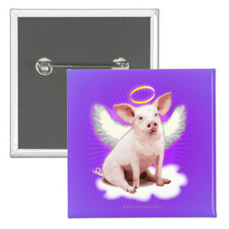Angel Pig Pinback Button