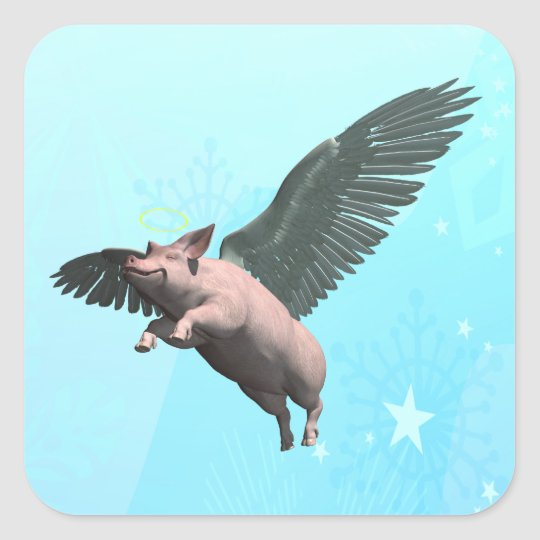 Angel Pig Square Sticker