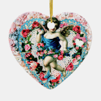 Angel Pink Roses Vintage Victorian Ceramic Ornament