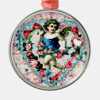 Angel Pink Roses Vintage Victorian Metal Ornament