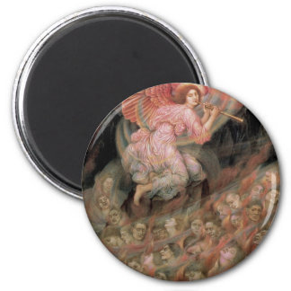 Angel Piping to Souls in Hell by Evelyn De Morgan 2 Inch Round Magnet