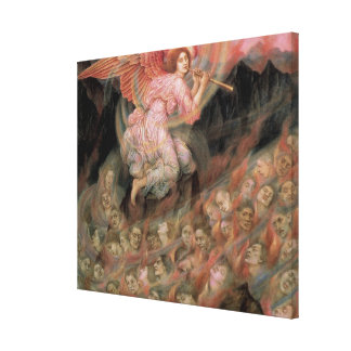Angel Piping to Souls in Hell by Evelyn De Morgan Canvas Print
