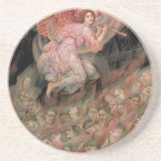Angel Piping to Souls in Hell by Evelyn De Morgan Beverage Coaster