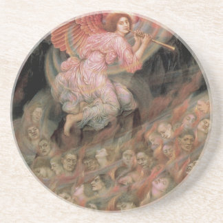 Angel Piping to Souls in Hell by Evelyn De Morgan Sandstone Coaster