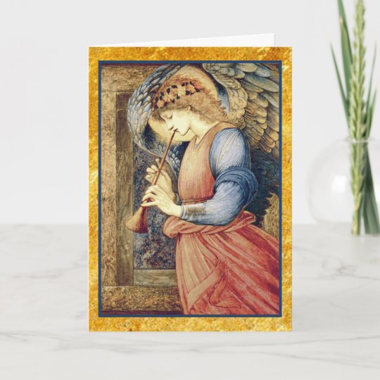 Angel Playing A Flageolet Christmas Holiday Card Zazzle Com