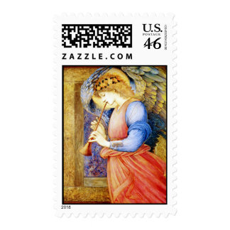 Angel Playing a Flageolet Vintage Christmas Stamps