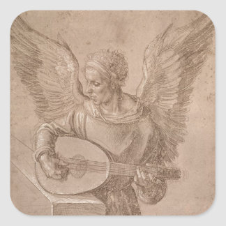 Angel playing a lute, 1491 square sticker