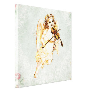Angel Playing a Violin on a Shabby Vintage Texture Canvas Print
