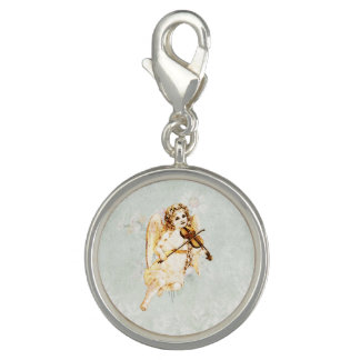 Angel Playing a Violin on a Shabby Vintage Texture Charm