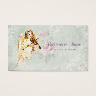 Angel Playing a Violin on Vintage Paper Background Business Card