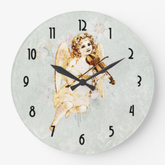 Angel Playing a Violin on Vintage Paper Background Clock