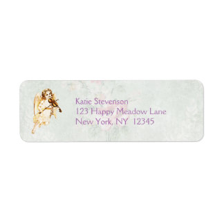 Angel Playing a Violin on Vintage Paper Background Label