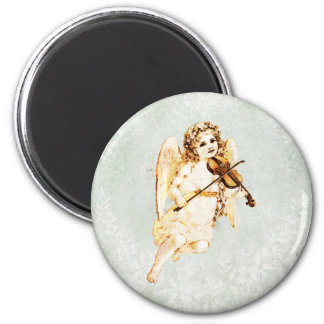 Angel Playing a Violin on Vintage Paper Background Magnet