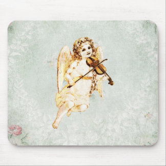 Angel Playing a Violin on Vintage Paper Background Mouse Pad